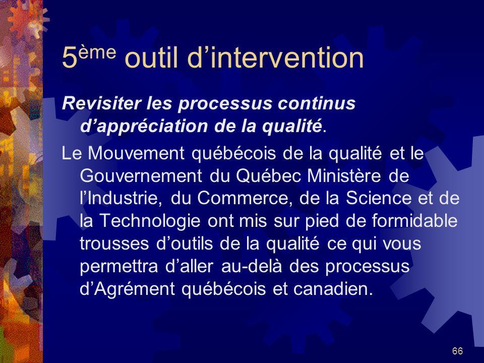 65 4 ème outil dintervention Instaurer le dialogue démocratique et éthique qui sappuie sur la compréhension et la contribution des intervenants de tou