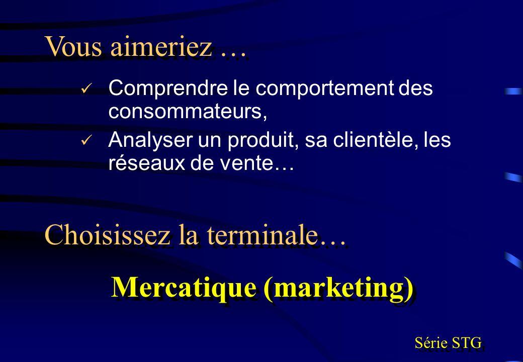 Comprendre le comportement des consommateurs, Analyser un produit, sa clientèle, les réseaux de vente… Vous aimeriez … Choisissez la terminale… Mercat