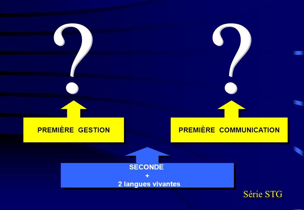 SECONDE + 2 langues vivantes SECONDE + 2 langues vivantes PREMIÈRE COMMUNICATION PREMIÈRE GESTION Série STG