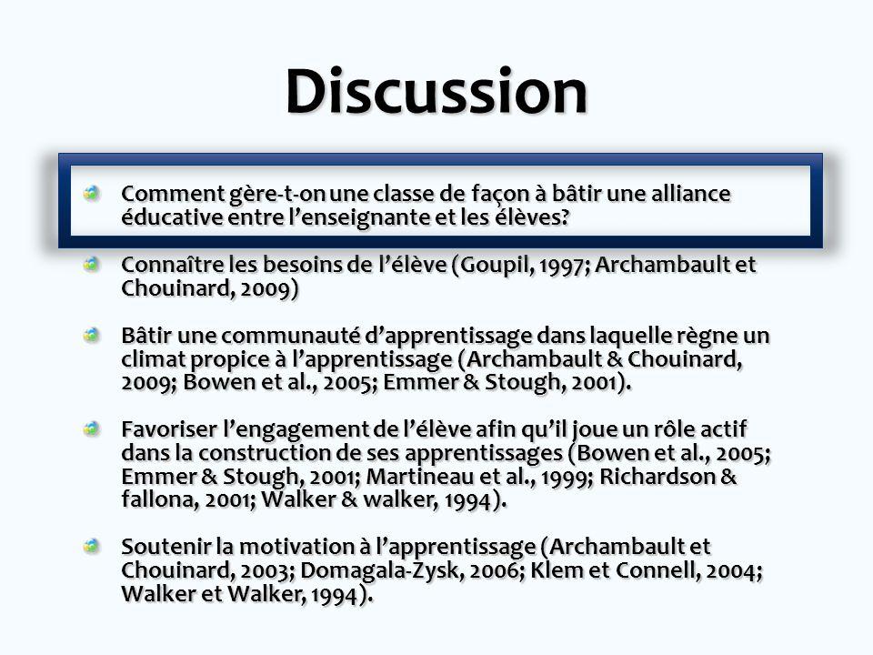 Discussion Comment gère-t-on une classe de façon à bâtir une alliance éducative entre lenseignante et les élèves.