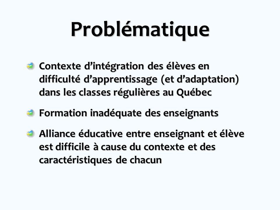 Problématique Contexte dintégration des élèves en difficulté dapprentissage (et dadaptation) dans les classes régulières au Québec Formation inadéquate des enseignants Alliance éducative entre enseignant et élève est difficile à cause du contexte et des caractéristiques de chacun