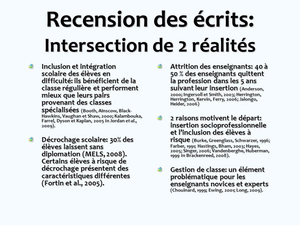 Recension des écrits: Intersection de 2 réalités Inclusion et intégration scolaire des élèves en difficulté: ils bénéficient de la classe régulière et