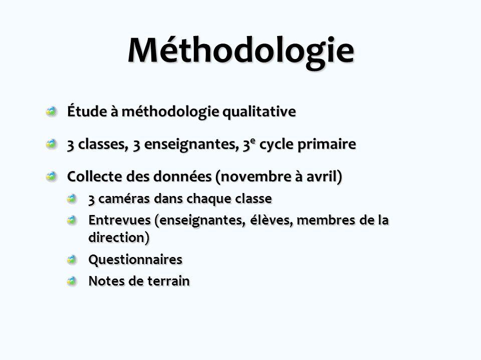 Méthodologie Étude à méthodologie qualitative 3 classes, 3 enseignantes, 3 e cycle primaire Collecte des données (novembre à avril) 3 caméras dans cha