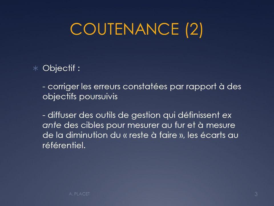 COUTENANCE (2) Objectif : - corriger les erreurs constatées par rapport à des objectifs poursuivis - diffuser des outils de gestion qui définissent ex ante des cibles pour mesurer au fur et à mesure de la diminution du « reste à faire », les écarts au référentiel.