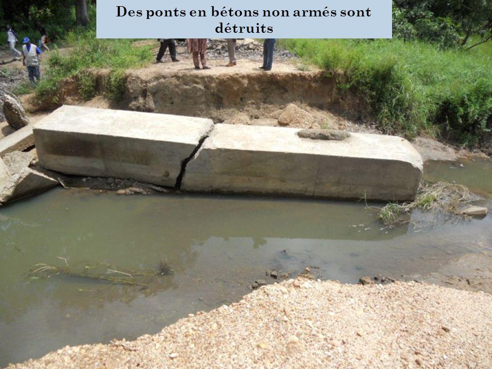 Des ponts en bétons non armés sont détruits