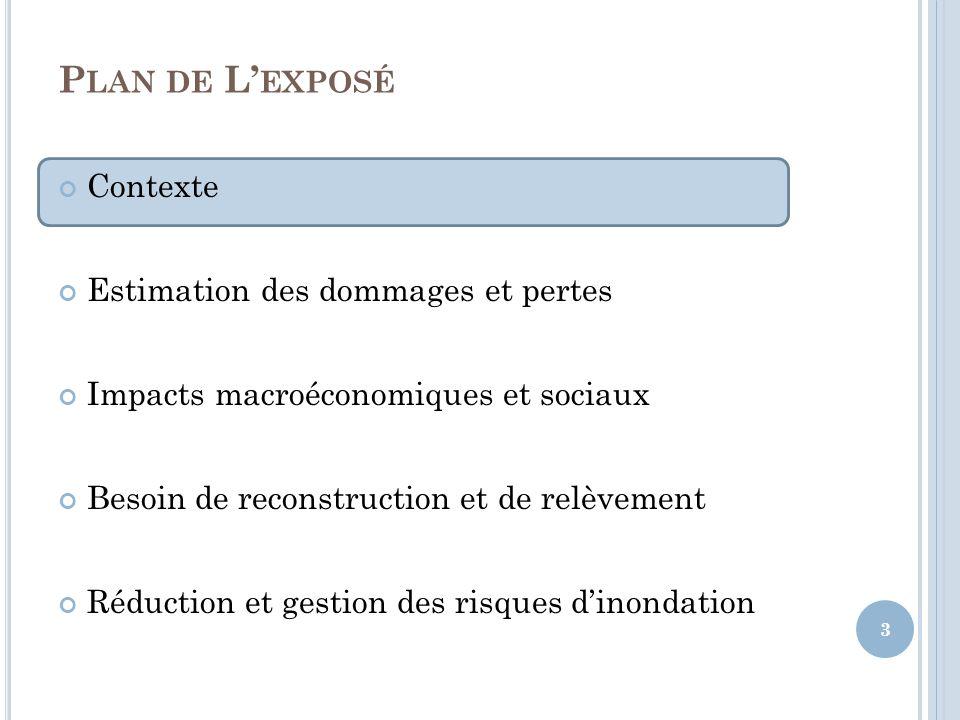P LAN DE L EXPOSÉ Contexte Estimation des dommages et pertes Impacts macroéconomiques et sociaux Besoin de reconstruction et de relèvement Réduction et gestion des risques dinondation 14