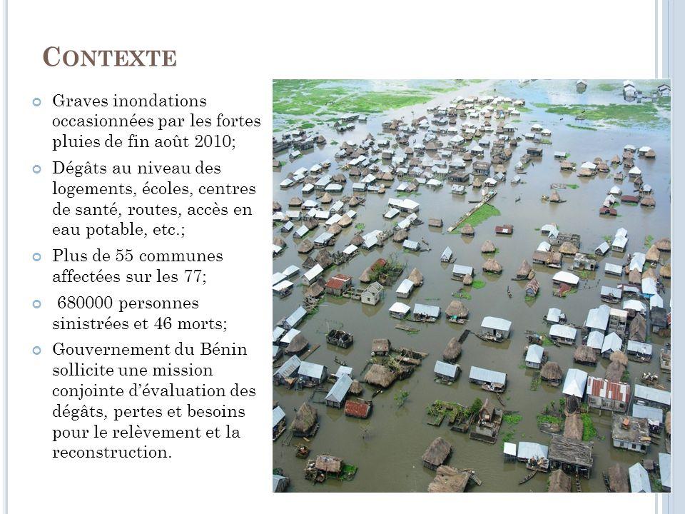 C ONTEXTE Graves inondations occasionnées par les fortes pluies de fin août 2010; Dégâts au niveau des logements, écoles, centres de santé, routes, accès en eau potable, etc.; Plus de 55 communes affectées sur les 77; 680000 personnes sinistrées et 46 morts; Gouvernement du Bénin sollicite une mission conjointe dévaluation des dégâts, pertes et besoins pour le relèvement et la reconstruction.
