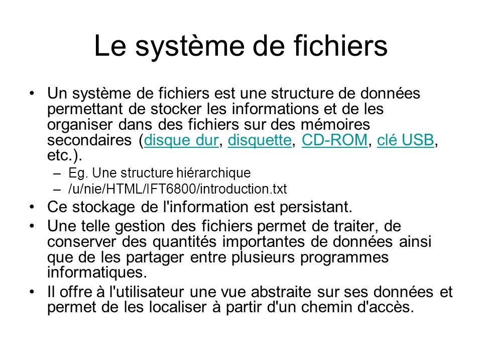 Le système de fichiers Un système de fichiers est une structure de données permettant de stocker les informations et de les organiser dans des fichiers sur des mémoires secondaires (disque dur, disquette, CD-ROM, clé USB, etc.).disque durdisquetteCD-ROMclé USB –Eg.