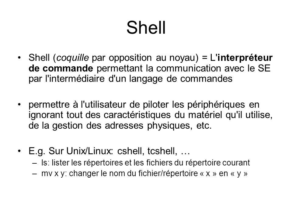 Shell Shell (coquille par opposition au noyau) = L interpréteur de commande permettant la communication avec le SE par l intermédiaire d un langage de commandes permettre à l utilisateur de piloter les périphériques en ignorant tout des caractéristiques du matériel qu il utilise, de la gestion des adresses physiques, etc.
