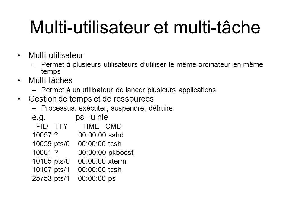 Multi-utilisateur et multi-tâche Multi-utilisateur –Permet à plusieurs utilisateurs dutiliser le même ordinateur en même temps Multi-tâches –Permet à un utilisateur de lancer plusieurs applications Gestion de temps et de ressources –Processus: exécuter, suspendre, détruire e.g.