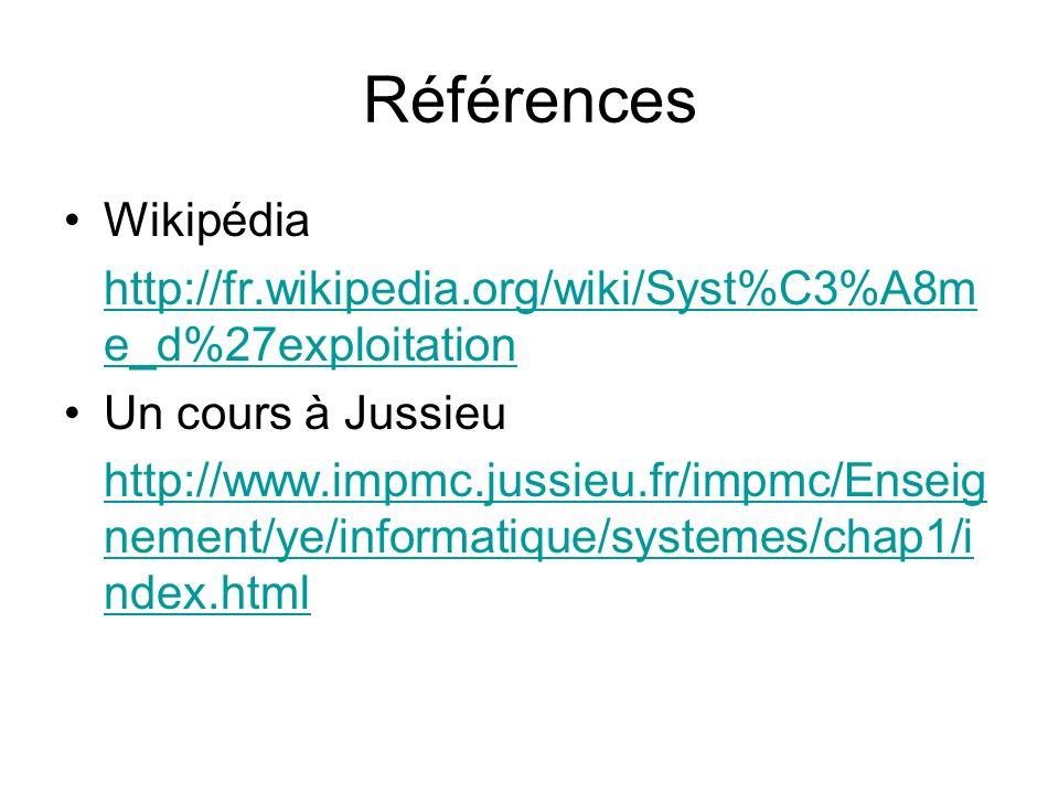 Références Wikipédia http://fr.wikipedia.org/wiki/Syst%C3%A8m e_d%27exploitation Un cours à Jussieu http://www.impmc.jussieu.fr/impmc/Enseig nement/ye/informatique/systemes/chap1/i ndex.html