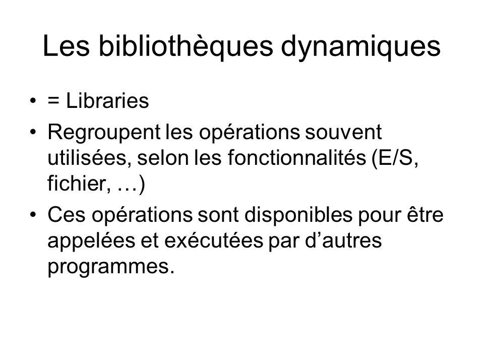 Les bibliothèques dynamiques = Libraries Regroupent les opérations souvent utilisées, selon les fonctionnalités (E/S, fichier, …) Ces opérations sont disponibles pour être appelées et exécutées par dautres programmes.