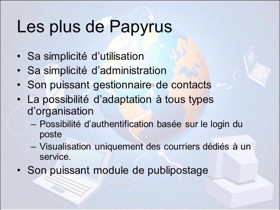 Les plus de Papyrus Sa simplicité dutilisation Sa simplicité dadministration Son puissant gestionnaire de contacts La possibilité dadaptation à tous t
