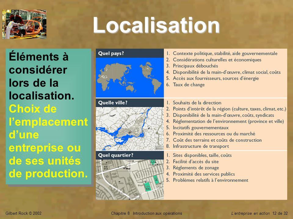 Gilbert Rock © 2002Chapitre 8 Introduction aux opérationsLentreprise en action 12 de 32 Localisation Éléments à considérer lors de la localisation.