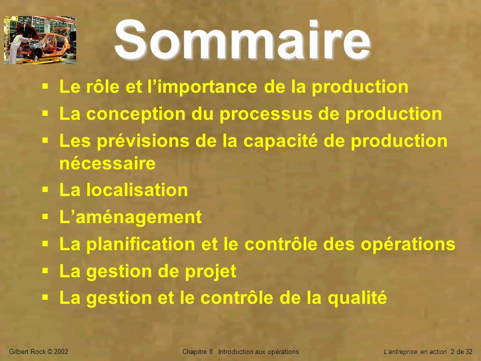 Gilbert Rock © 2002Chapitre 8 Introduction aux opérationsLentreprise en action 2 de 32 Sommaire Le rôle et limportance de la production La conception