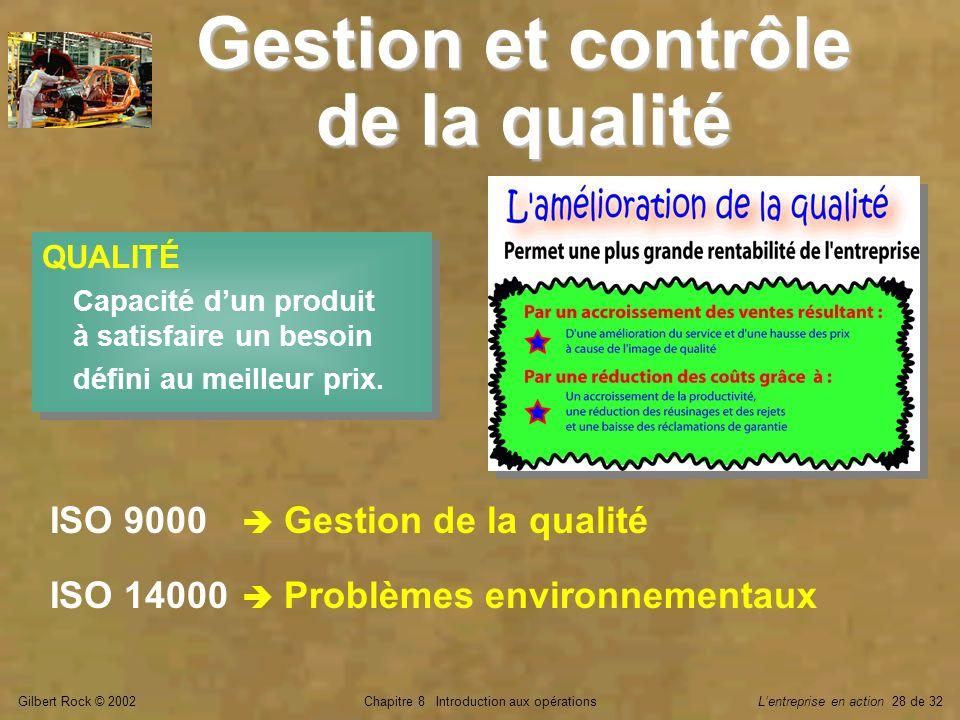 Gilbert Rock © 2002Chapitre 8 Introduction aux opérationsLentreprise en action 28 de 32 Gestion et contrôle de la qualité QUALITÉ Capacité dun produit à satisfaire un besoin défini au meilleur prix.