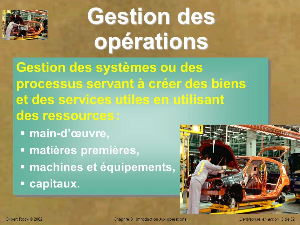 Gilbert Rock © 2002Chapitre 8 Introduction aux opérationsLentreprise en action 3 de 32 Gestion des opérations Gestion des systèmes ou des processus se
