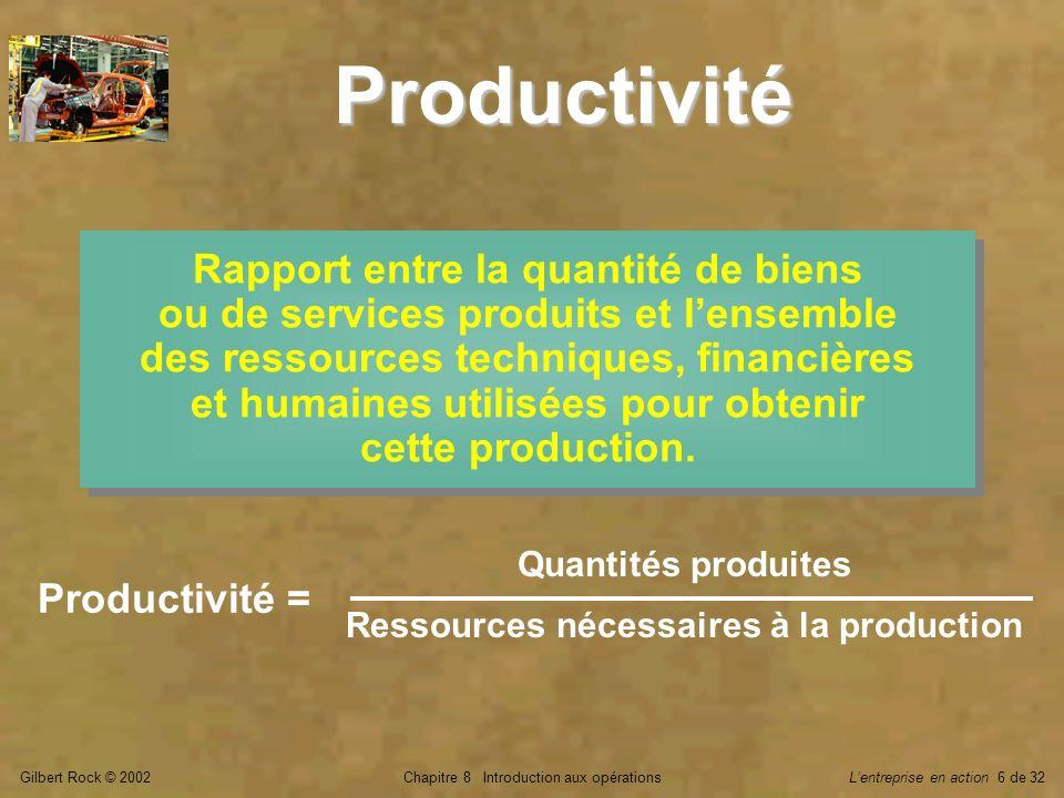 Gilbert Rock © 2002Chapitre 8 Introduction aux opérationsLentreprise en action 6 de 32 Productivité Rapport entre la quantité de biens ou de services