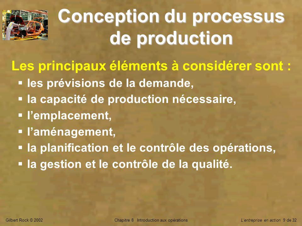 Gilbert Rock © 2002Chapitre 8 Introduction aux opérationsLentreprise en action 9 de 32 Conception du processus de production Les principaux éléments à considérer sont : les prévisions de la demande, la capacité de production nécessaire, lemplacement, laménagement, la planification et le contrôle des opérations, la gestion et le contrôle de la qualité.