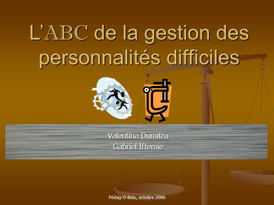Pédag-O-Bois, octobre 2006 L ABC de la gestion des personnalités difficiles Valentina Dumitru Gabriel Iftemie