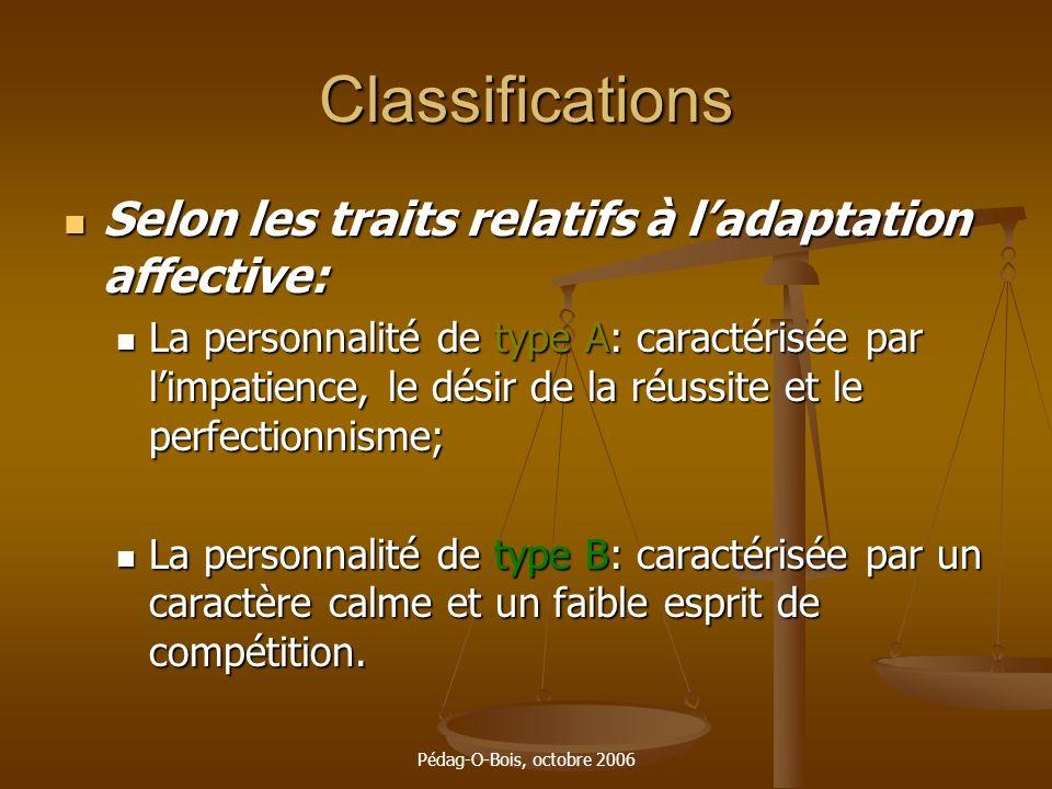 Pédag-O-Bois, octobre 2006 Classifications Selon les traits relatifs à ladaptation affective: Selon les traits relatifs à ladaptation affective: La pe