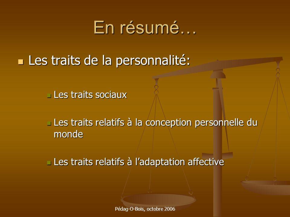 Pédag-O-Bois, octobre 2006 En résumé… Les traits de la personnalité: Les traits de la personnalité: Les traits sociaux Les traits sociaux Les traits r