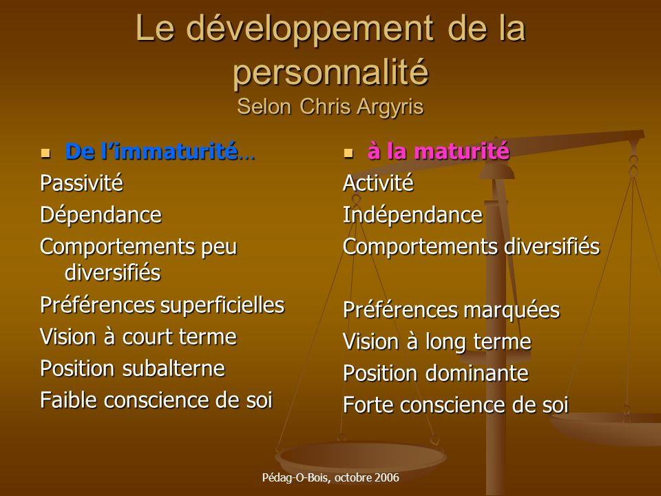 Pédag-O-Bois, octobre 2006 Le développement de la personnalité Selon Chris Argyris De limmaturité… De limmaturité…PassivitéDépendance Comportements pe