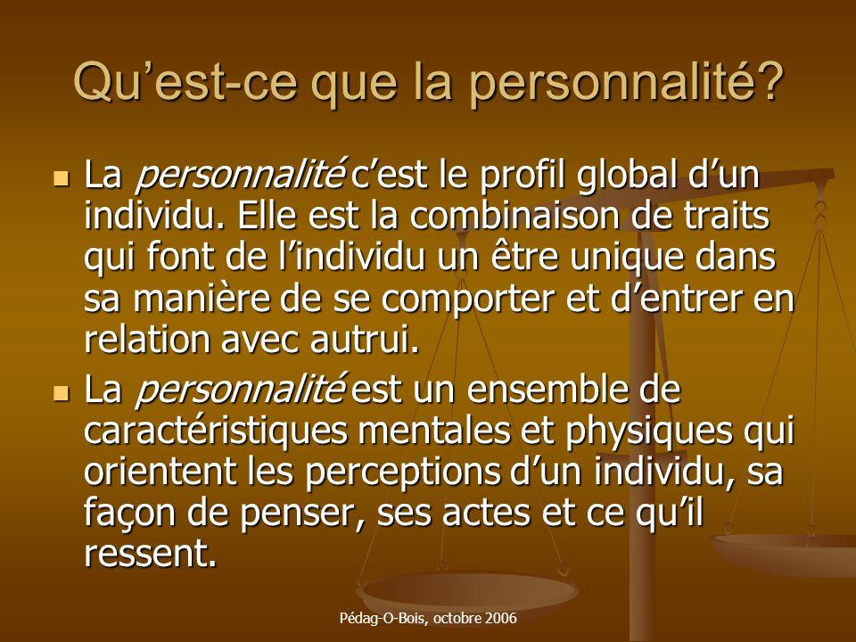 Pédag-O-Bois, octobre 2006 Quest-ce que la personnalité? La personnalité cest le profil global dun individu. Elle est la combinaison de traits qui fon
