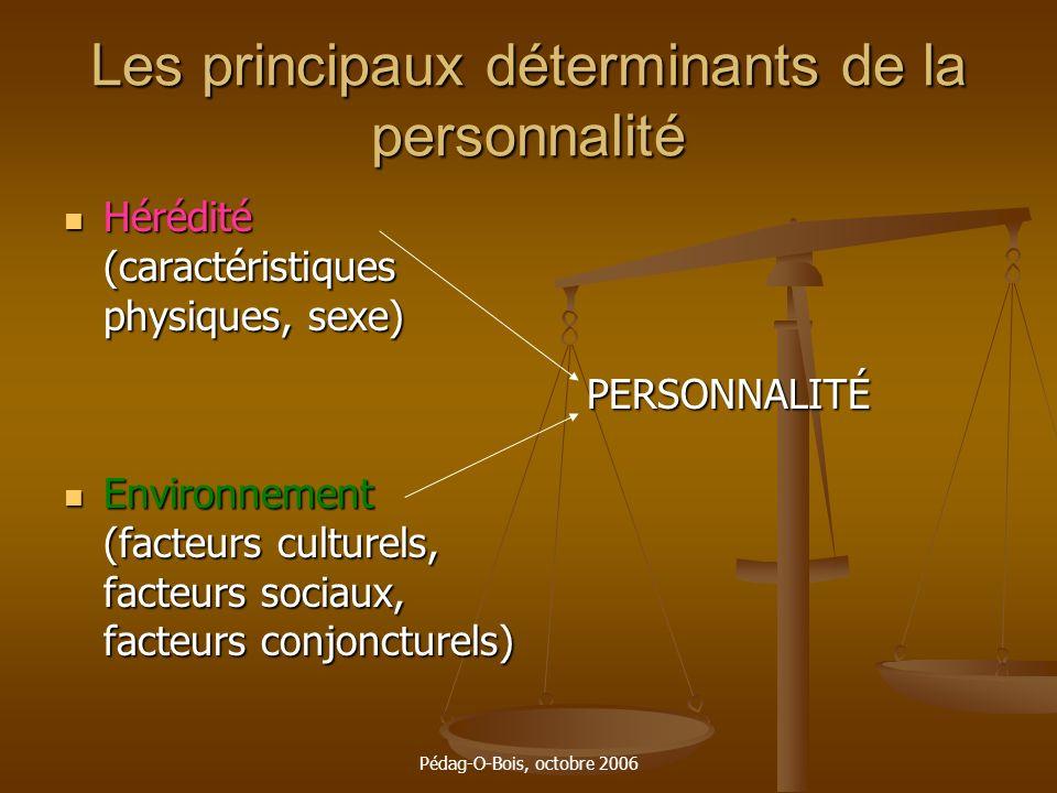 Pédag-O-Bois, octobre 2006 Les principaux déterminants de la personnalité Hérédité (caractéristiques physiques, sexe) Hérédité (caractéristiques physi