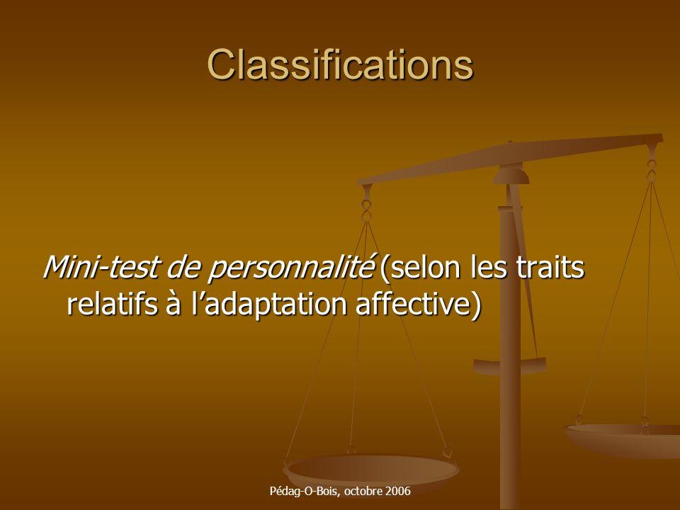 Pédag-O-Bois, octobre 2006 Classifications Mini-test de personnalité (selon les traits relatifs à ladaptation affective)