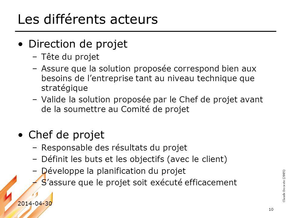 Claude Decoste (2005) 2014-04-30 10 Les différents acteurs Direction de projet –Tête du projet –Assure que la solution proposée correspond bien aux be