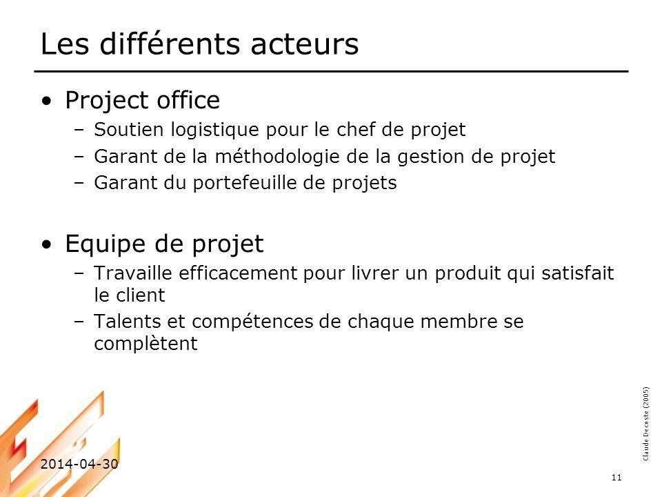 Claude Decoste (2005) 2014-04-30 11 Les différents acteurs Project office –Soutien logistique pour le chef de projet –Garant de la méthodologie de la