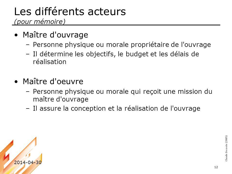 Claude Decoste (2005) 2014-04-30 12 Les différents acteurs (pour mémoire) Maître d'ouvrage –Personne physique ou morale propriétaire de l'ouvrage –Il