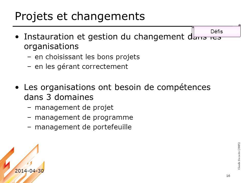 Claude Decoste (2005) 2014-04-30 16 Projets et changements Instauration et gestion du changement dans les organisations –en choisissant les bons proje
