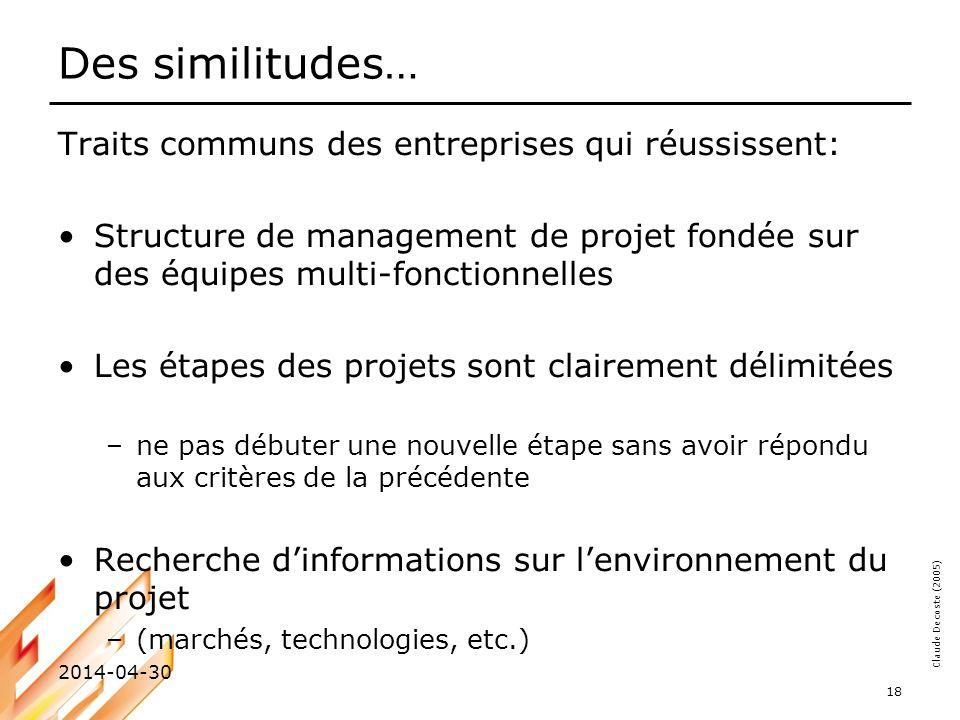 Claude Decoste (2005) 2014-04-30 18 Des similitudes… Traits communs des entreprises qui réussissent: Structure de management de projet fondée sur des