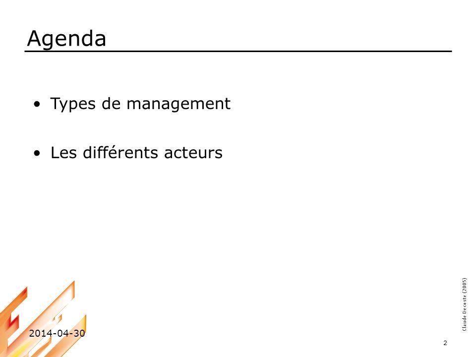Claude Decoste (2005) 2014-04-30 3 4 chemins possibles Management de crise Management confus Management tiré Management efficace