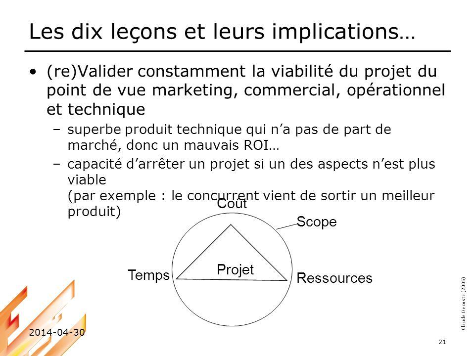 Claude Decoste (2005) 2014-04-30 21 Les dix leçons et leurs implications… (re)Valider constamment la viabilité du projet du point de vue marketing, co