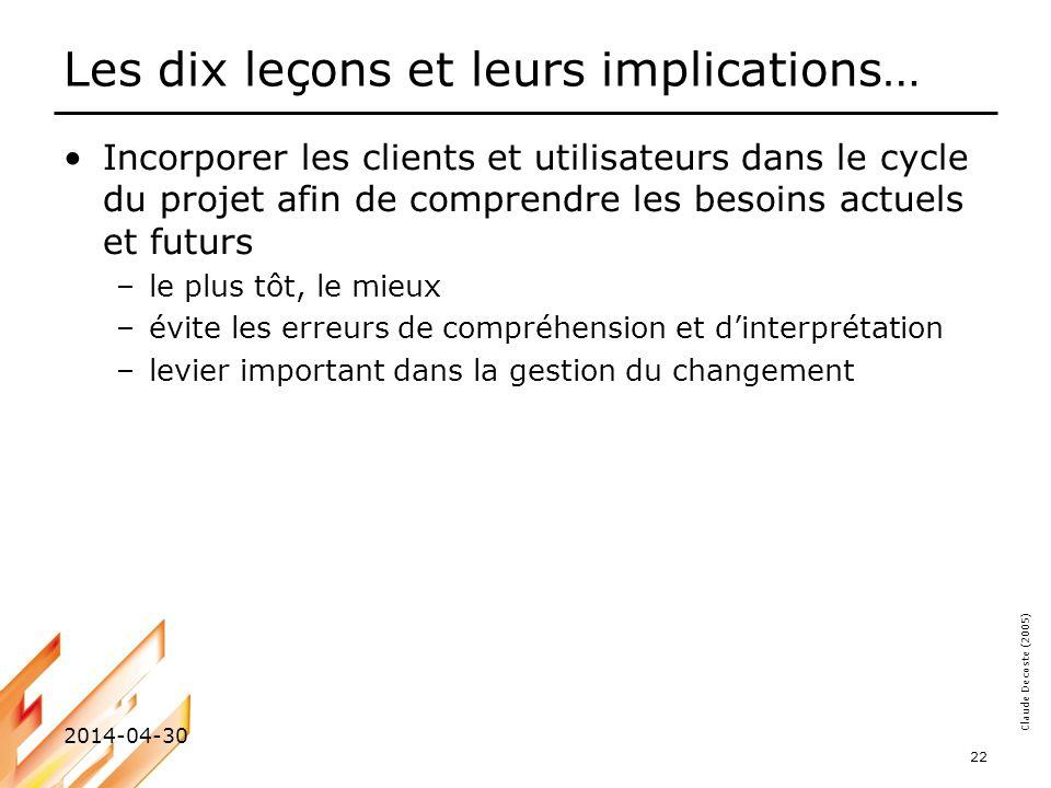 Claude Decoste (2005) 2014-04-30 22 Les dix leçons et leurs implications… Incorporer les clients et utilisateurs dans le cycle du projet afin de compr