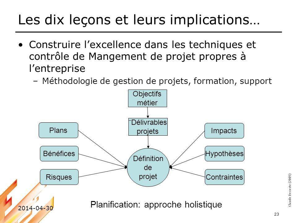 Claude Decoste (2005) 2014-04-30 23 Les dix leçons et leurs implications… Construire lexcellence dans les techniques et contrôle de Mangement de proje