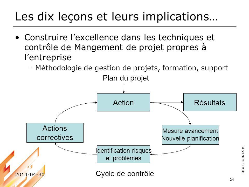 Claude Decoste (2005) 2014-04-30 24 Les dix leçons et leurs implications… Construire lexcellence dans les techniques et contrôle de Mangement de proje