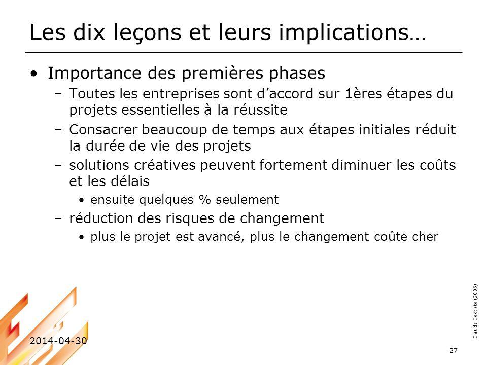 Claude Decoste (2005) 2014-04-30 27 Les dix leçons et leurs implications… Importance des premières phases –Toutes les entreprises sont daccord sur 1èr