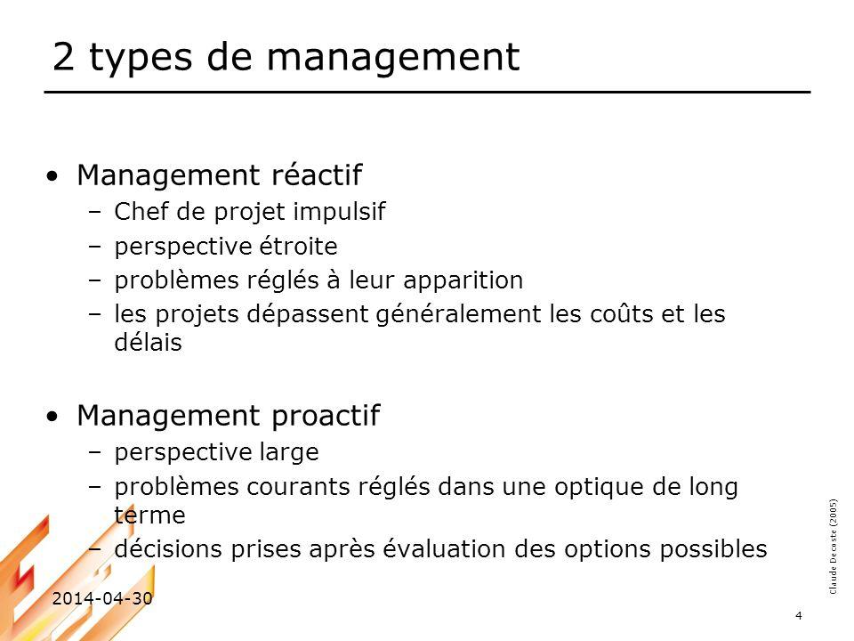 Claude Decoste (2005) 2014-04-30 4 2 types de management Management réactif –Chef de projet impulsif –perspective étroite –problèmes réglés à leur app