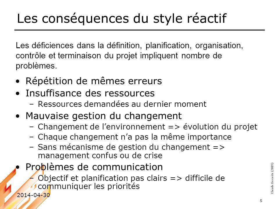 Claude Decoste (2005) 2014-04-30 6 Les pressions sur le chef de projet Des pressions qui poussent à adopter un style réactif… Ressources limitées Autres… Standards Aspects économiques Politique Environnement Technologie Chef de projet