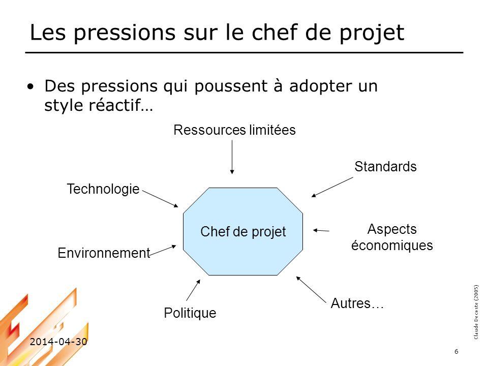 Claude Decoste (2005) 2014-04-30 6 Les pressions sur le chef de projet Des pressions qui poussent à adopter un style réactif… Ressources limitées Autr