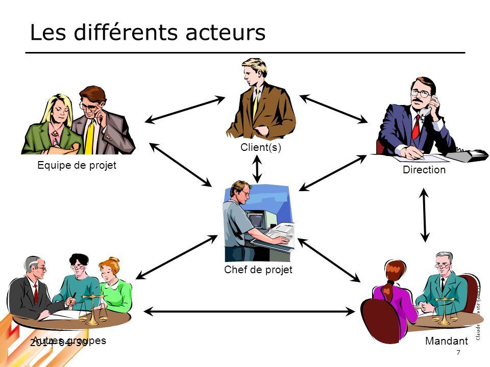 Claude Decoste (2005) 2014-04-30 7 Les différents acteurs Equipe de projet Autres groupes Chef de projet Mandant Direction Client(s)