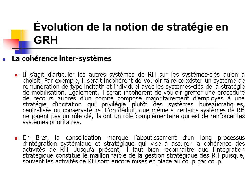 Évolution de la notion de stratégie en GRH La cohérence inter-systèmes Il sagit darticuler les autres systèmes de RH sur les systèmes-clés quon a choisit.