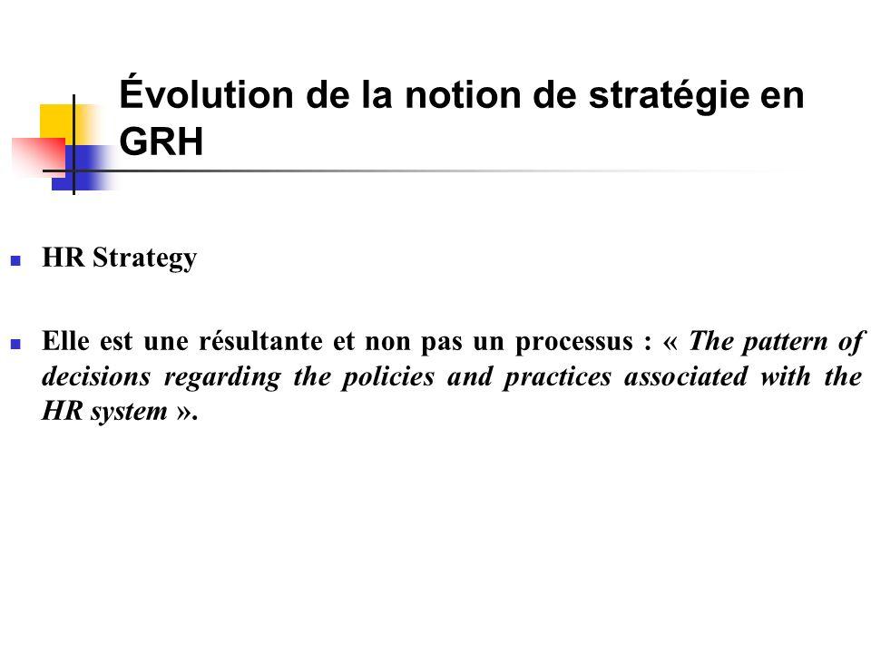 Évolution de la notion de stratégie en GRH HR Strategy Elle est une résultante et non pas un processus : « The pattern of decisions regarding the policies and practices associated with the HR system ».