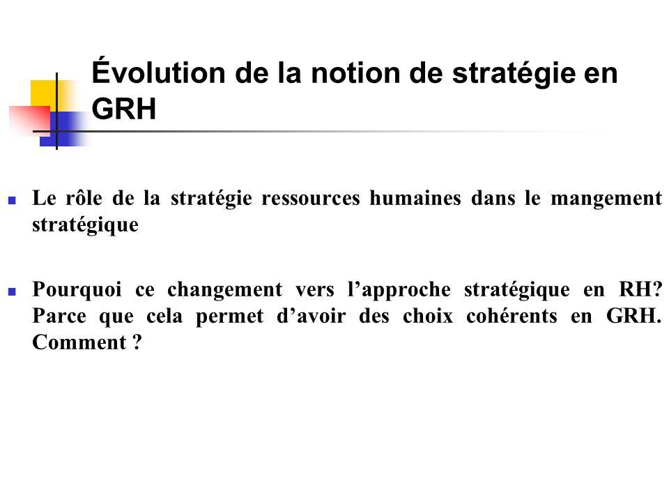 Le rôle de la stratégie ressources humaines dans le mangement stratégique Pourquoi ce changement vers lapproche stratégique en RH.