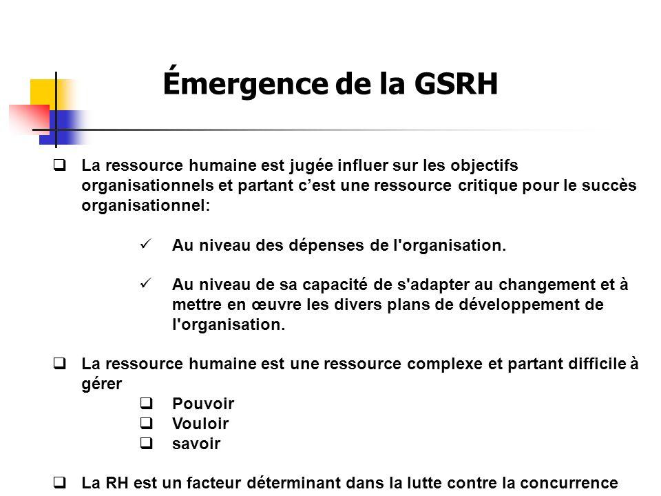 Émergence de la GSRH La ressource humaine est jugée influer sur les objectifs organisationnels et partant cest une ressource critique pour le succès organisationnel: Au niveau des dépenses de l organisation.