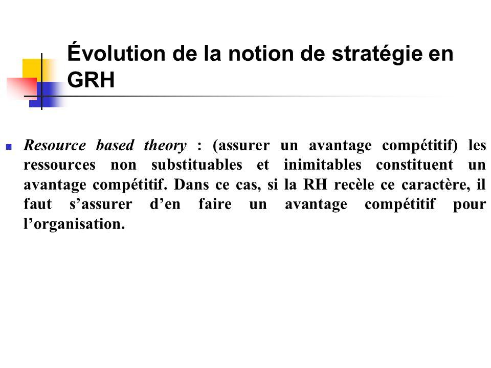Évolution de la notion de stratégie en GRH Resource based theory : (assurer un avantage compétitif) les ressources non substituables et inimitables constituent un avantage compétitif.